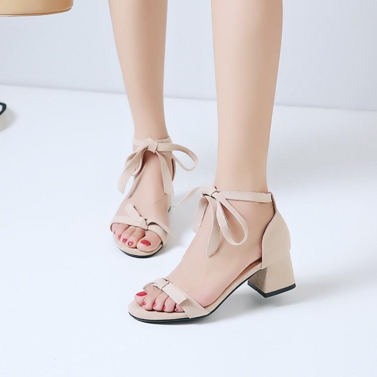 Big Size 11 12 13 saltos altos sandálias sapatos mulheres mulher senhoras verão camurça arco open-coleira com salto grosso e calcanhar quadrado