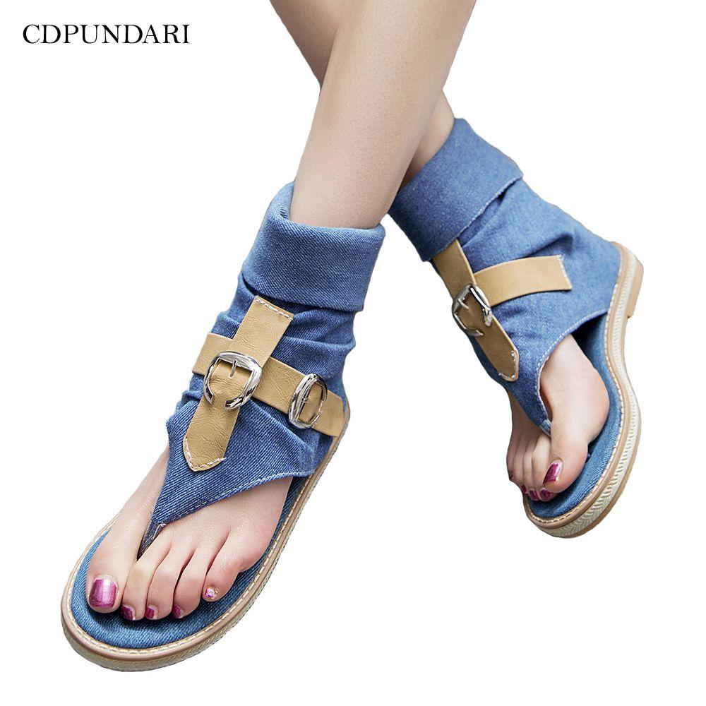 Denim sandalias planas ocasionales para las mujeres sandalias de gladiador sandalias de plataforma de las señoras 2020 zapatos de mujer de verano CX200620
