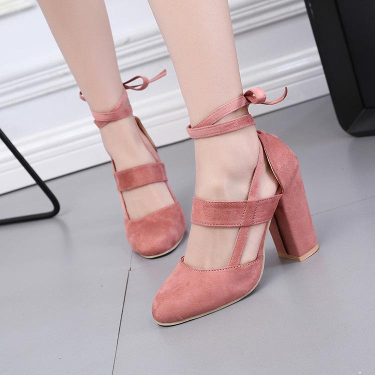 tacco grosso in microfibra rotonda toe scarpe da donna moda elegante di alta qualità Stile abbigliamento sandalo a tacco alto sandalo scarpe da donna Close-toe
