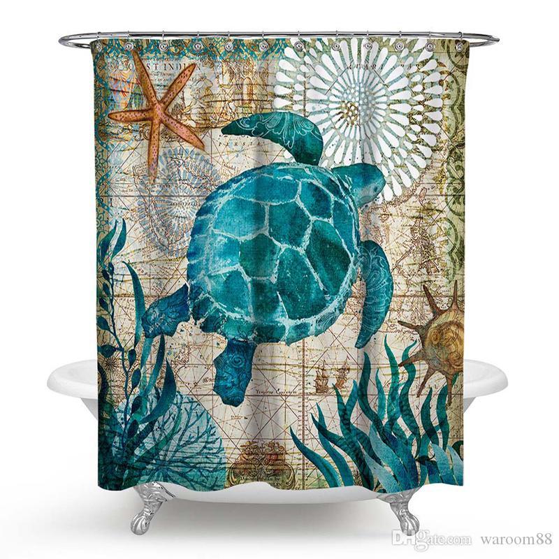거북이 샤워 커튼 방수 목욕 커튼 12 후크 폴리 에스터 패브릭 커튼 욕실 마린 스타일 곰팡이 방지 장식