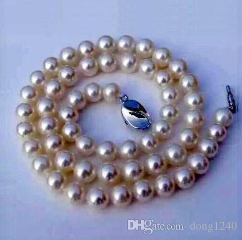 """18 """"9-10mm Mar del Sur collar de perlas blancas"""