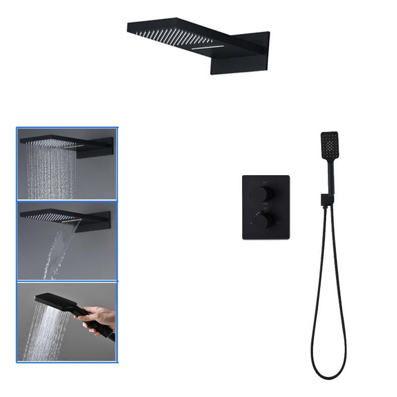 Baño Negro juego de ducha de montaje en pared Las precipitaciones cascada cabezal de ducha de 3 vías de latón válvula termostática mezclador de la ducha Grifos Toque