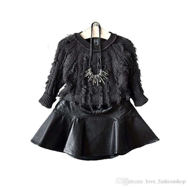 Retail kids luxury designer clothes girls PU leather skirt Classic black princess dress pleated skirt skirts Children boutique clothing