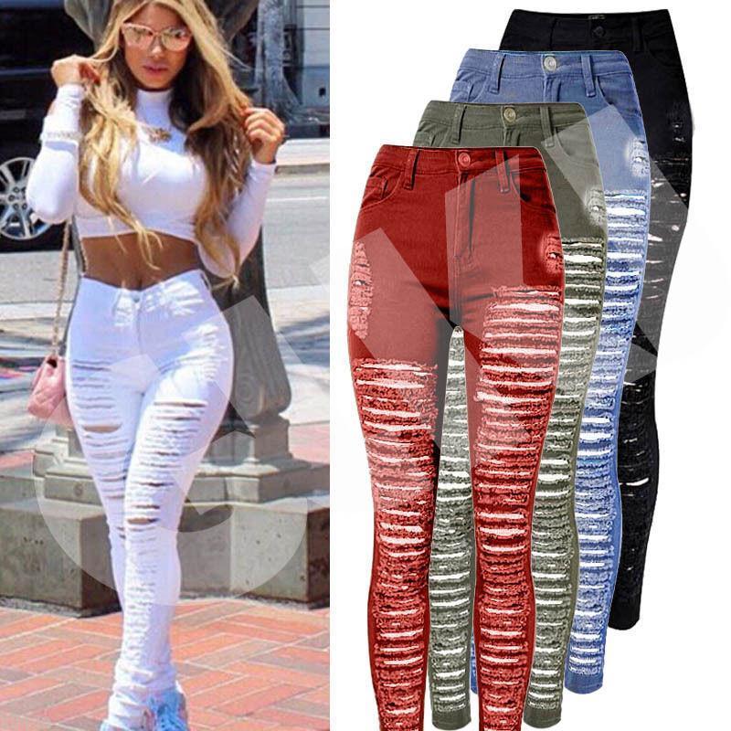Femmes Sexy Denim Jeans Détruit Ripped Skinny trou Pantalon taille haute Stretch Jeans Slim Crayon Pantalons Noir Blanc Bleu