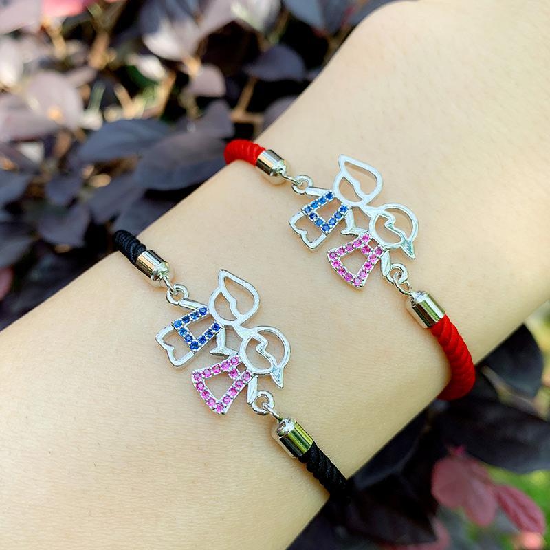 Moda arco iris Muchacho y muchacha rojos encantos de oro cuerda pulseras circón Kid ajustable pulsera de hilo Negro brt-c19