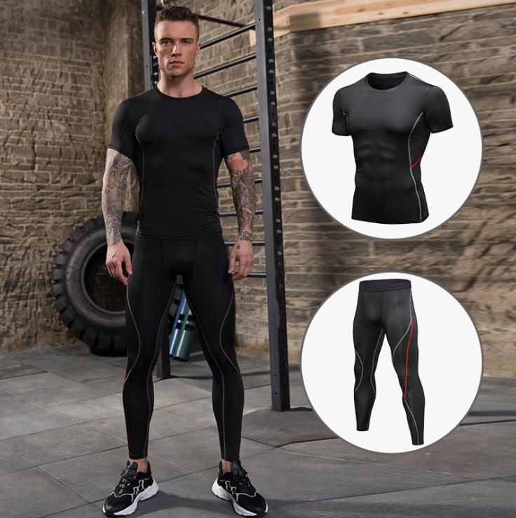 Erkekler sıkı antrenman takım PRO koşu spor giysiler spor çabuk kuruyan takım kısa kollu + pantolon 91204 + 91302