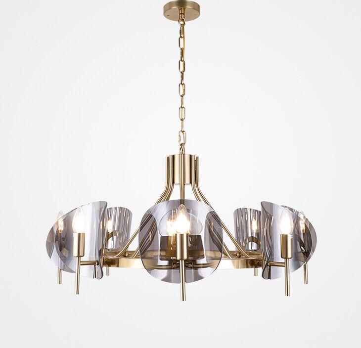 Moderno simple oro lujo LED araña de hierro vidrio sala de estar luces colgantes Lámparas Lámparas Dormitorio Oficina Villas Iluminación Droplights