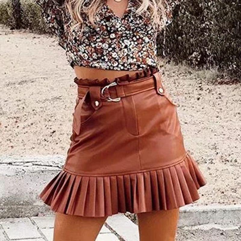 2019 mujeres de la moda mini faldas plisadas de la vendimia para damas otoño-invierno de cuero de la PU falda corta con cinturón de niñas falda femenina elegante