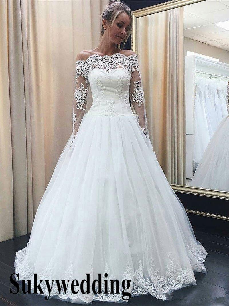 Tul elegante del cordón vestidos de boda del hombro mangas largas vestidos de una boda Línea País de longitud de los vestidos nupciales elegantes