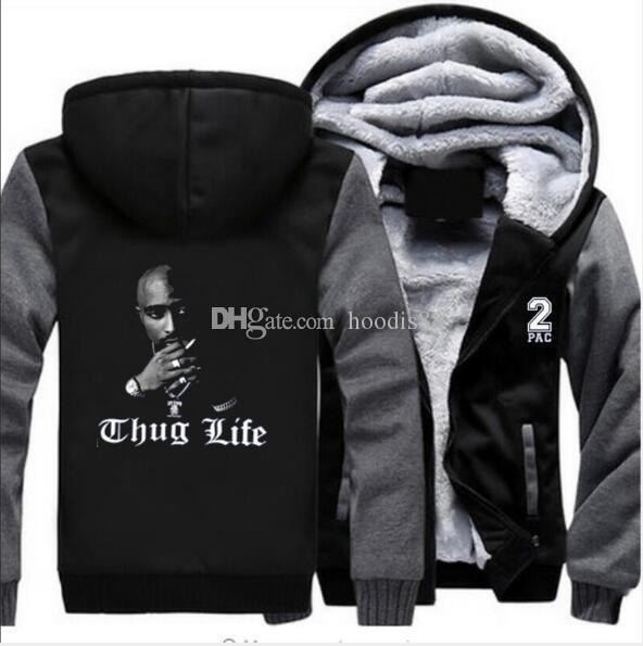 Hip hop Thug Life mujeres de los hombres de la cremallera chaqueta con capucha, sudaderas con capucha de la moda de manga larga chaqueta de las camisetas abrigos