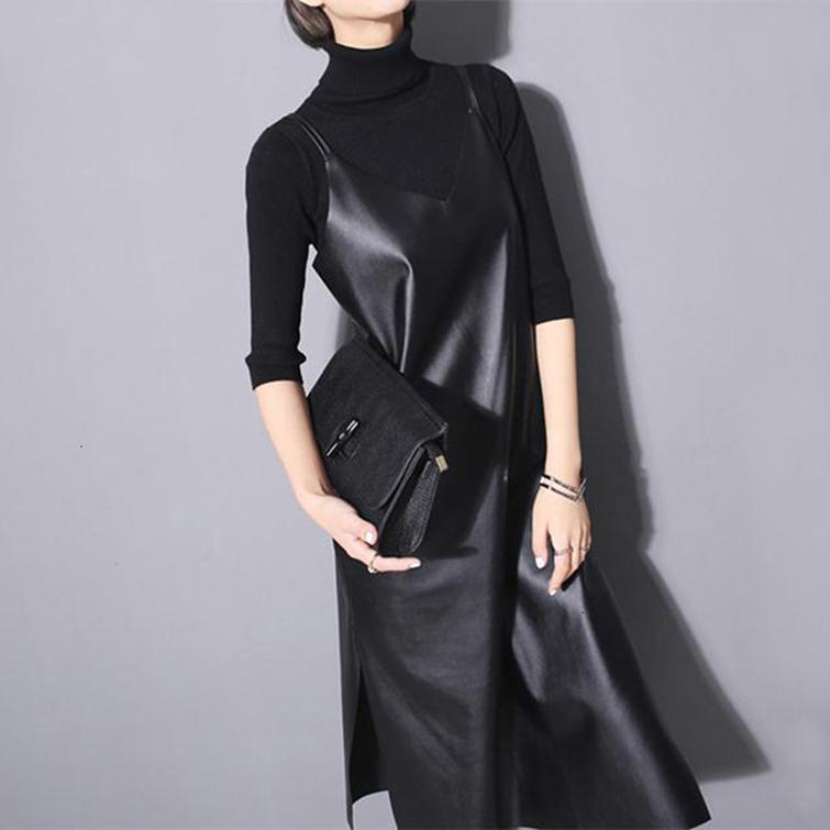Nuovi mini abiti senza maniche spaghetti abito cinghie con scollo a V Split sexy del partito Nigh 2019 donne Long Black Faux Leather Abiti Pu 746