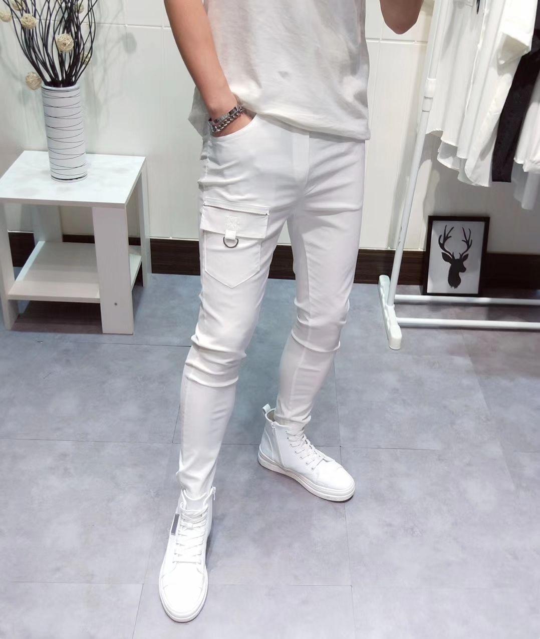 Pants men casual pants Sweatpants fashion design pants for men Comfortable size M-2XL Zipper slim style