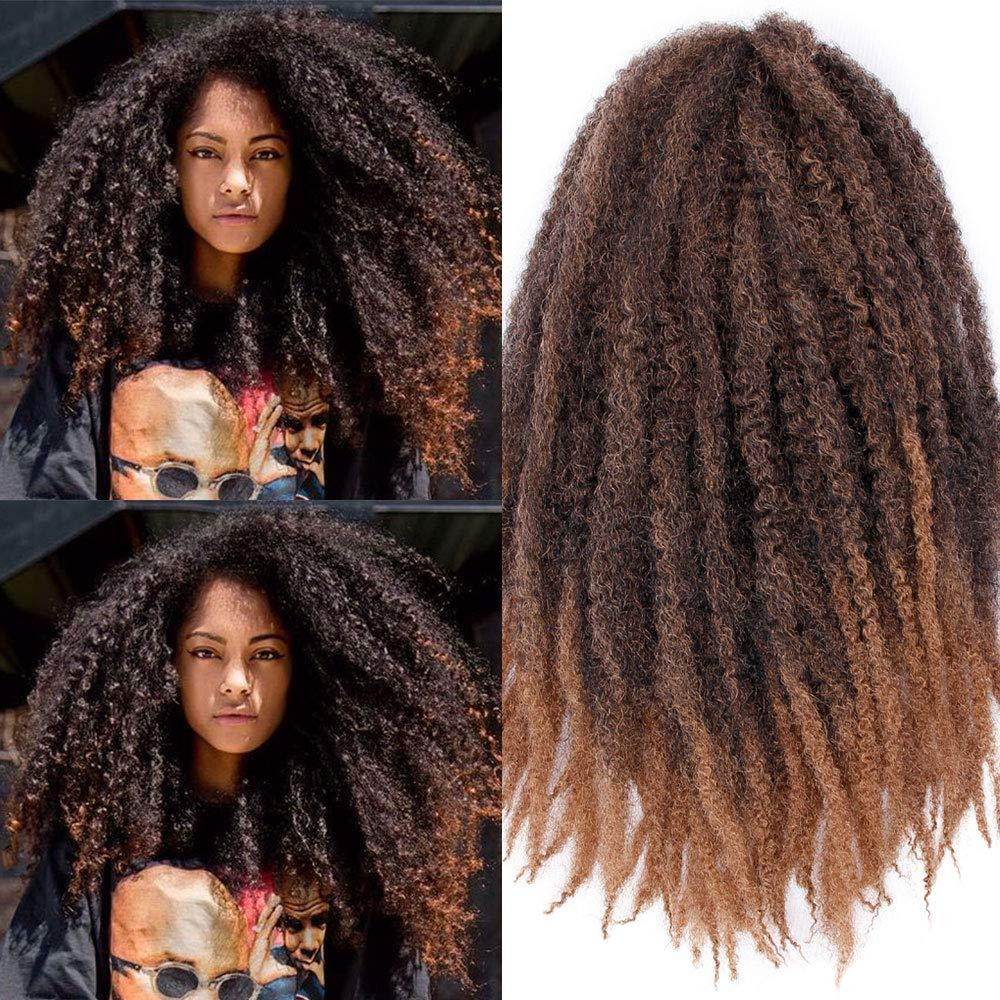 Marley Braids Hair Afro Kinky Curly Marley Curl Twist Braid Hair Extensions Kanekalon Synthetic Twist Crochet Hair 18 Inch Ombre Color (T27)