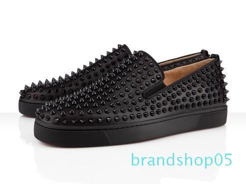 Diseños punto de la manera de vestir Mocasines parte inferior roja de los zapatos de la boda del partido de lujo zapatilla de deporte de cuero auténtico Spikes del zapato con cordones de los zapatos ocasionales A2