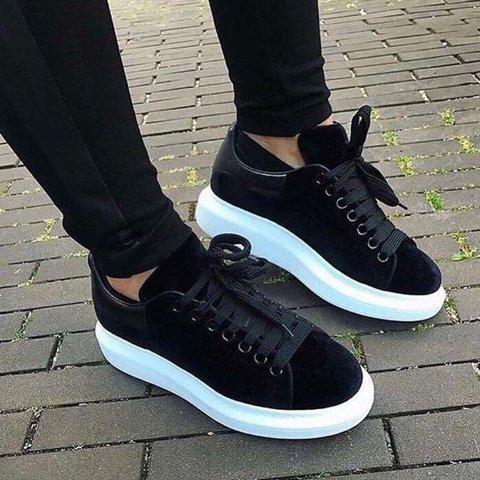 Black Velvet Lace Up Casual Shoes Mens