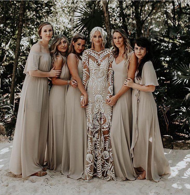 Elegant Simple Chiffon Bridesmaid Dresses V Neck Long Boho Country Garden Grey Wedding Party Dress Maid Of Honor Formal Gowns Custom Made Australia