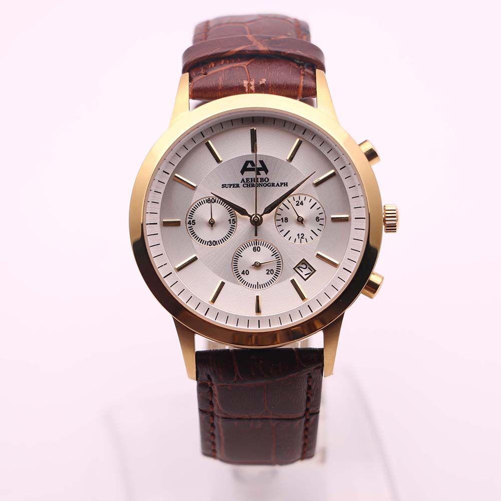 Новое поступление AEHIBO мужские часы золотой корпус кварцевый аккумулятор супер хронограф функция часы 40 мм белый циферблат дата окно наручные часы