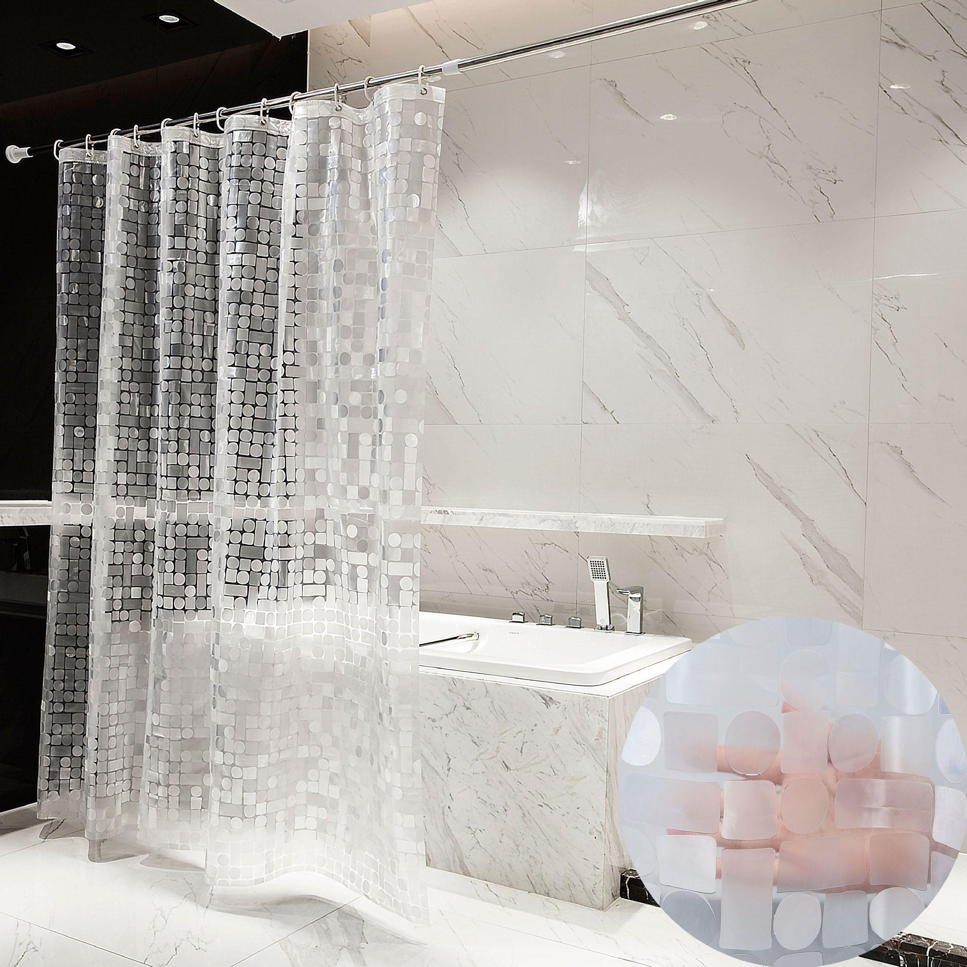 EVA للماء دش اينر سميكة العفن خالية الستار دش للحمام وصمة عار مقاومة دش اينر تصميم 3D نمط 72 × 72inch