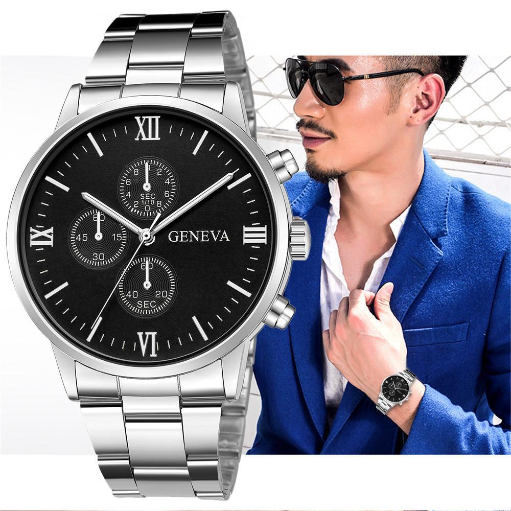 1Men's Fashion Sport Stainless Steel Case Leather Band Quartz Analog Wrist Watch Masculino Man Watch 2019 Unisex Clock