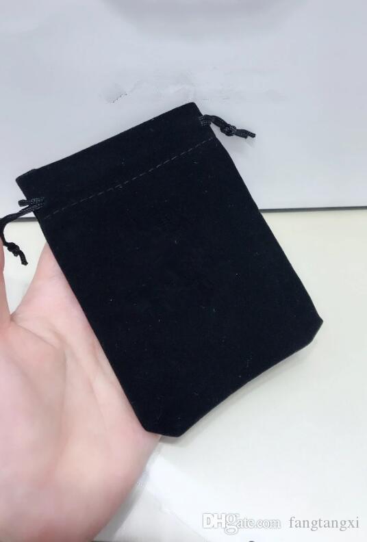 Atacado material de embalagem saco de veludo 12x9cm caso preto para acessórios brincos Boa impressão