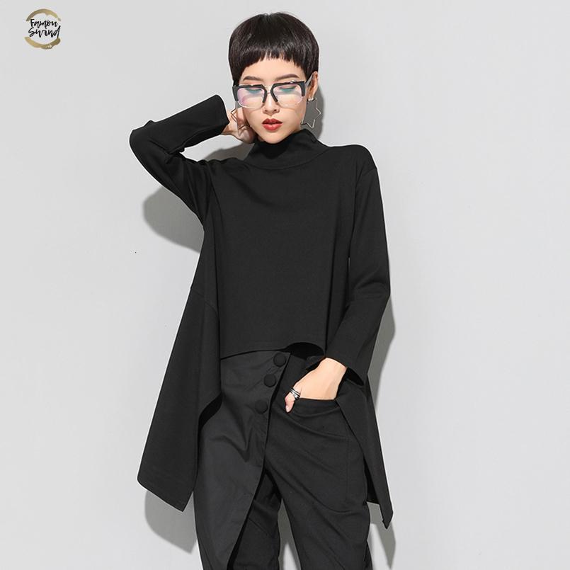 Vintage Black Turtle Neck T Shirt Женщина Плюс Размер Kawaii Повседневных длинный рукав Нерегулярных Топов корейской одежда New Zll1177