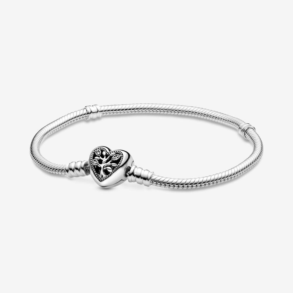 % 100 925 Gümüş Family Tree Kalp toka Yılan Zincir Bileklik Fit Otantik Avrupa Dangle Charm İçin Kadınlar Moda DIY Takı