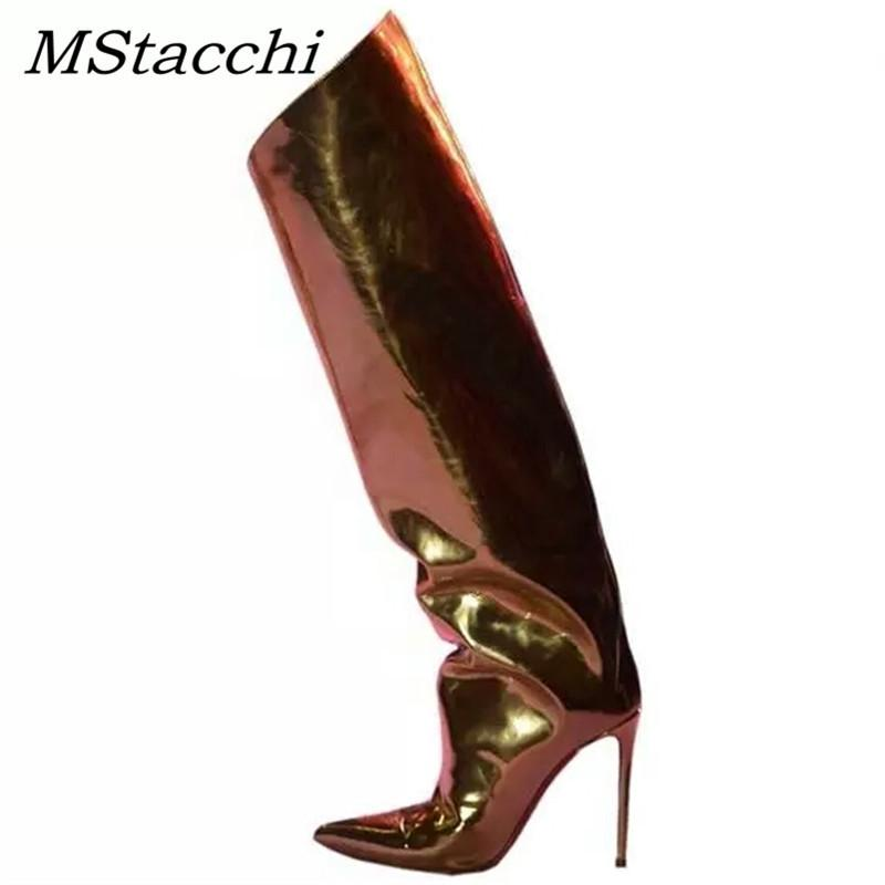 MStacchi Runway Stilettos Süßigkeit-Farben-Spiegel Leder Metallic Overknee-Stiefel Frauen Superabsatz kniehohe Stiefel Frau T200520