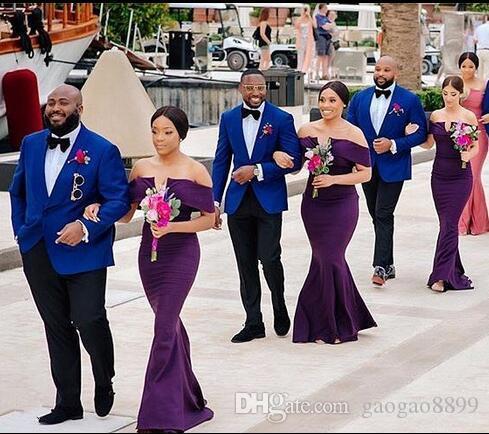 2019 modesta Africano Fora Do Ombro Sereia De Cetim Longo Plus Size Vestidos de Dama De Honra Ruched sweep train Convidado Do Casamento Vestidos de Dama De Honra