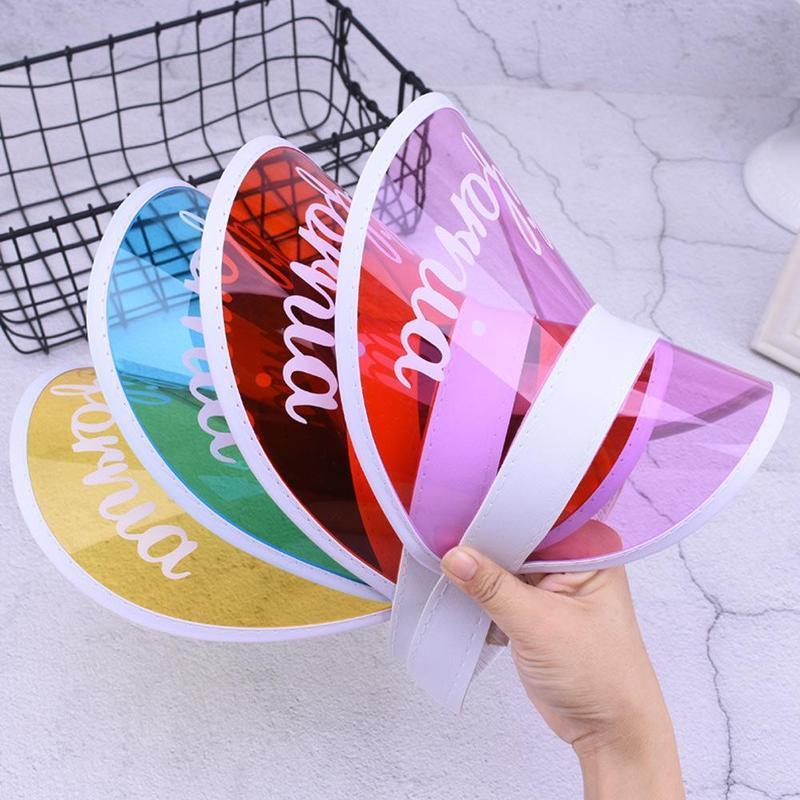 الصيف للجنسين PVC رسالة مطبوعة قبعات النساء الرجال كاندي اللون الشفاف قناع إفراغ الأعلى البلاستيك مظلة قبعات دراجات قبعة الشمس