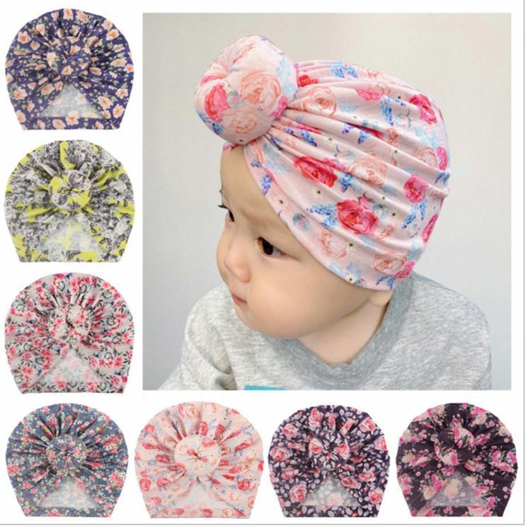 2020 Accessoires bébé nouveau-né mignon pour tout-petits enfants bébé garçon Turban coton Bonnet Bonnet d'hiver imprimé fleur