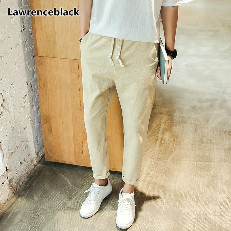 Lawrenceblack Erkek Keten Pantolon 2018 Yüksek kaliteli Ayak bileği-Uzunluk Keten pantolonlar Erkek Koşucular Kırpıldı Casual Kalem Pantolon 1130