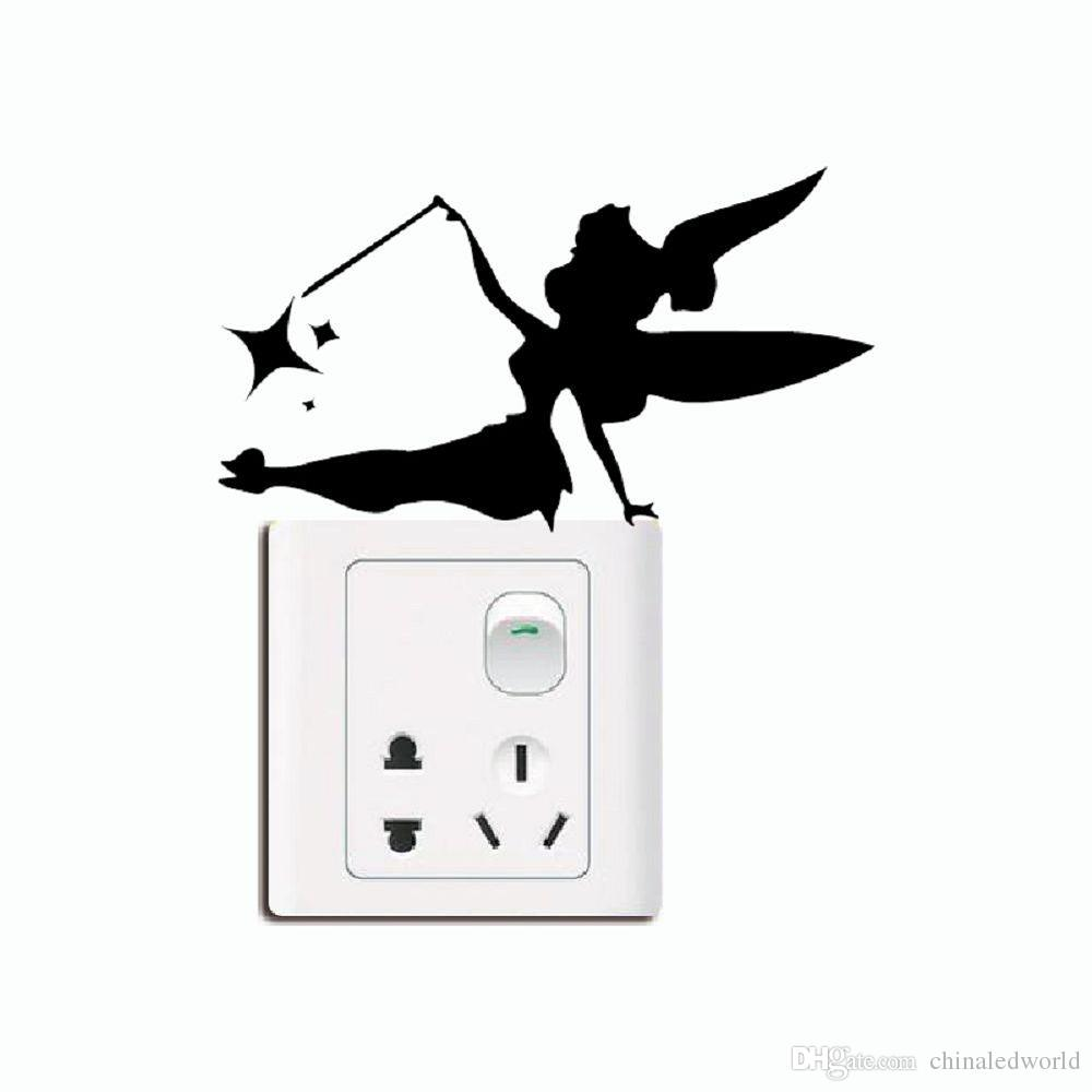 DSU Creative Fairy Silhouette Light Switch Sticker Cartoon Vinyl Wall Decal