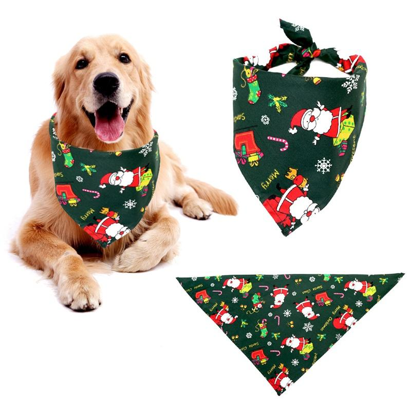 Dog Bandana Christmas Collar Scarf Adjustable Collar Puppy Cat Scarf Bib Grooming Triangular Bandage Collars Pet Fashion Design