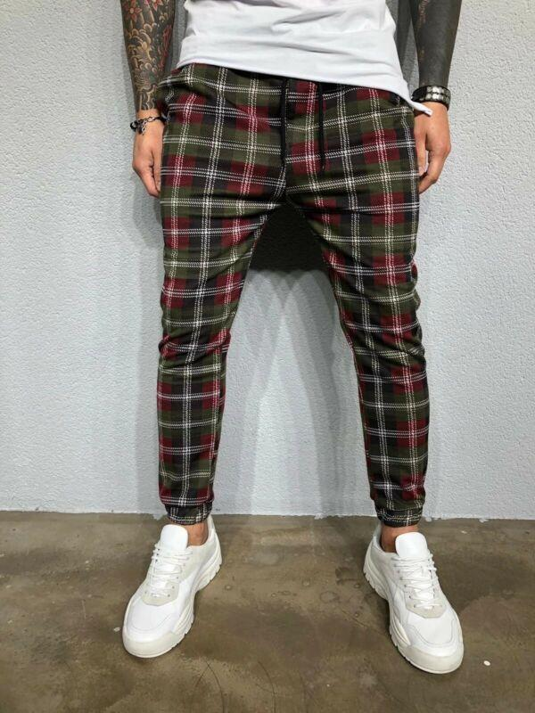 Nouveau Hommes Pantalons slim Pantalons Pantalons Check Mode Casual Joggers Tartan jogging Bas Skinny