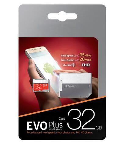 Бесплатные DHL 2019 100% Real 32GB 64GB 128GB Micro SD-карта памяти EVO Class 10 для смартфонов камера Galaxy Note 7 8 Sfree