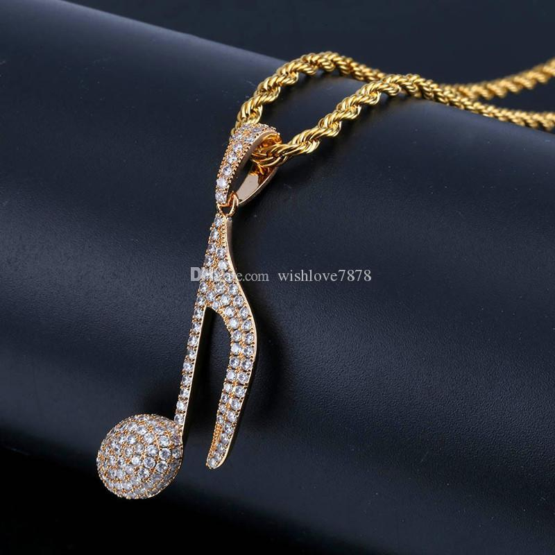 Music Note Pendant Necklaces For Men Brand Design Bling Cubic Zircona Ice Out Hiphop Necklaces Luxury 18K Gold Plated Hip Hop Jewelry