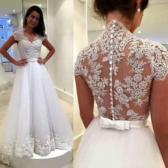 Elegante encaje tul vestidos de novia 2019 Cap manga ilusión Volver una línea de vestidos de novia hechos a mano Abiti Da Sposa