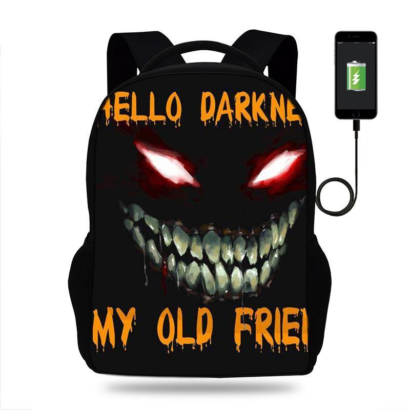 Mens Carregamento Usb mochila Olá Escuridão Meu Velho Amigo Escola sacos Notebook Unisex mochila computador para Meninos Adolescentes