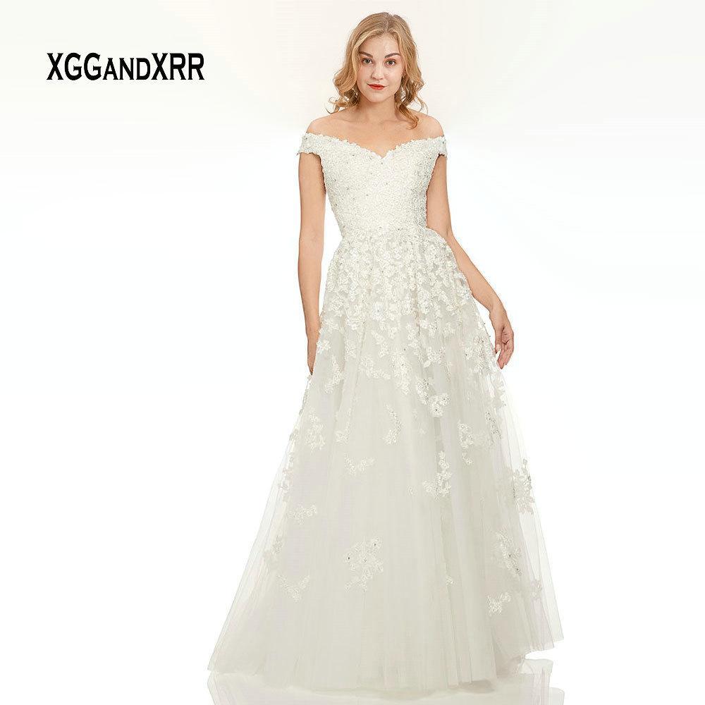 Yeni Beyaz Uzun Balo Elbise 2019 Dantel Akşam elbise Sevgiliye kapalı Omuz Yay ile Seksi Backless Keyhole Geri A Hattı Tül Parti