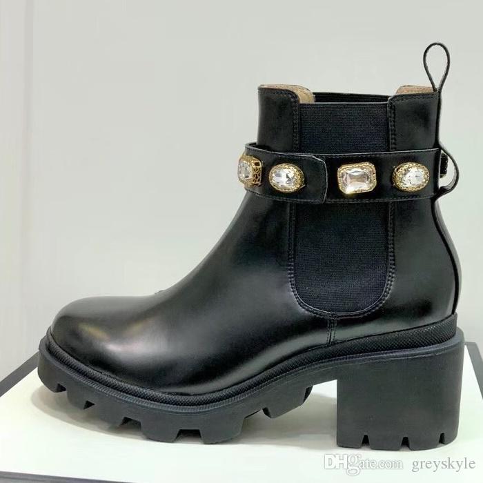 Il lavoro Tooling marca donne di cuoio della mucca di cristallo Bee stella tacco grosso Stivali moda Pioggia del deserto stivali invernali caviglia della neve Martin Boots, 35-40