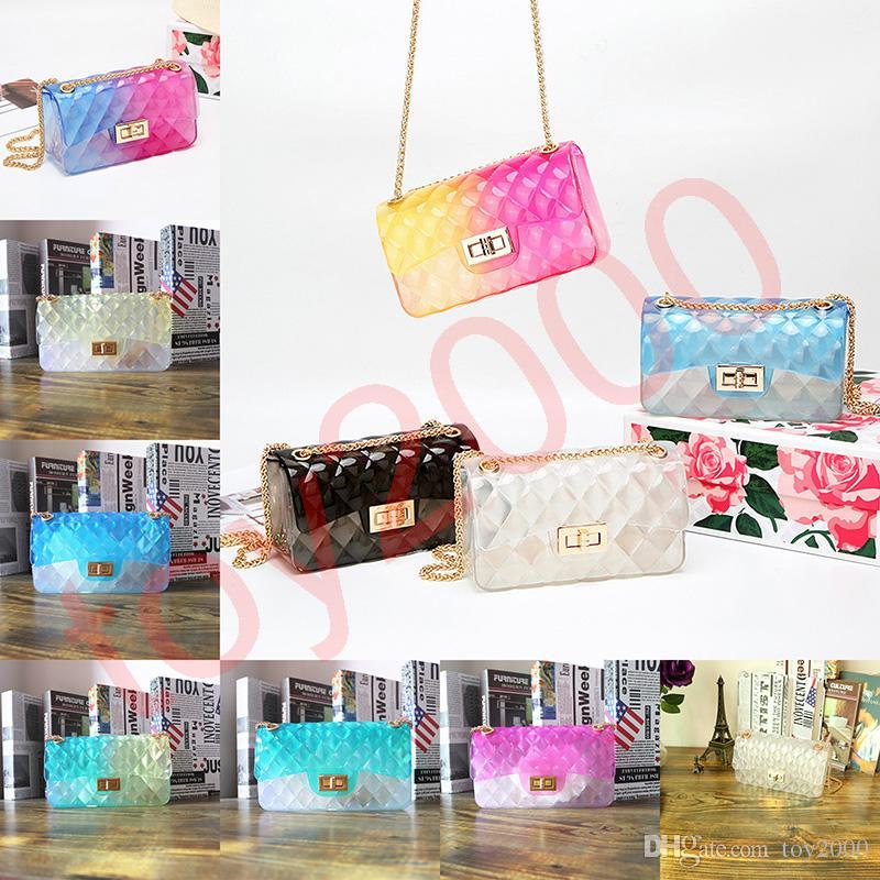 24styles 투명한 젤리 체인 숄더 가방 매트 crossbody 핸드백 메신저 패션 숙녀 파우치 캔디 컬러 파티 팩 FFA2105