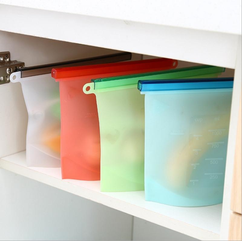 식품 신선한 가방 재사용 가능한 실리콘 식품 보관 용기 우유 과일 고기 진공 실러 가방 냉장고 가방 주방 Tools4Colors LQPYW1195
