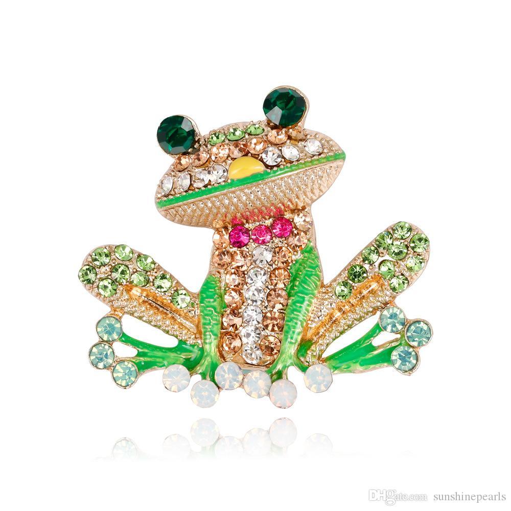 Perle di moda di evento delle donne / uomo di usura del perno della spilla della rana della rana del Rhinestone della lega animale di modo delle donne naturali di modo Trasporto libero