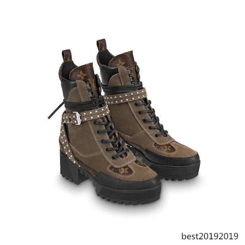Superiore di lusso tallone delle donne di stampa della lettera Rivetti Basso Stivali pelle bovina Laureate Piattaforma Desert Boot 35-42 con la scatola
