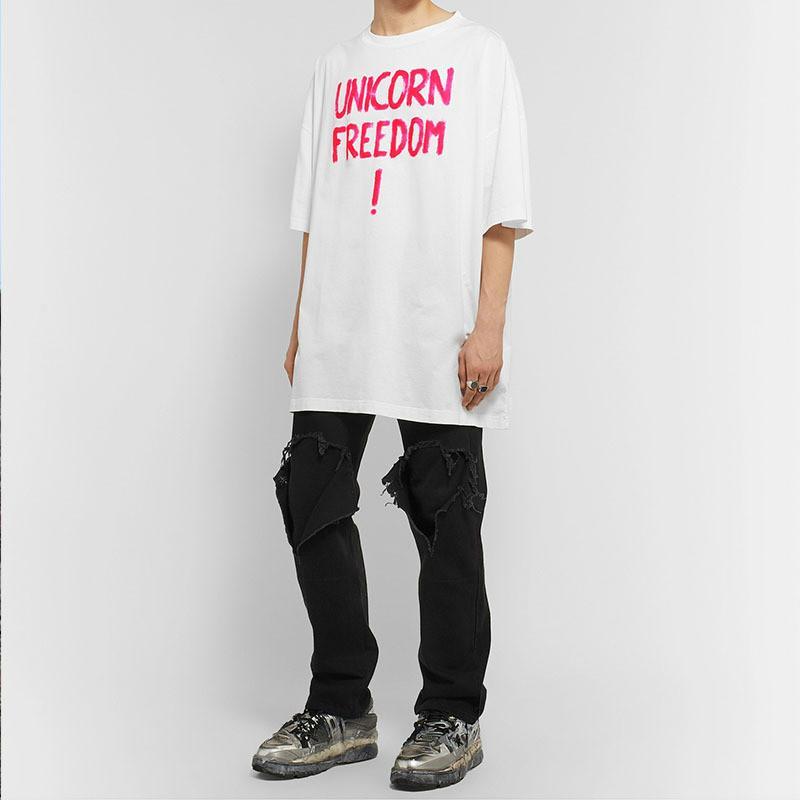 20SS Vetements Homme de luxe Vêtements hommes t-shirt Designer de mode Lettre d'impression à manches courtes en vrac VTM Casual High Street Tide Tee