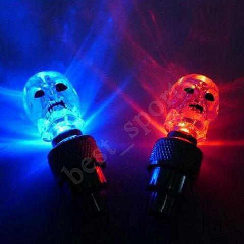 دراجة أضواء عجلة الجمجمة ميكس ضوء فلاش LED النيون ليلة مصباح سيارة دراجة الاطارات عجلة صمام قبعات أضواء الدراجة ZZA701 3000PCS