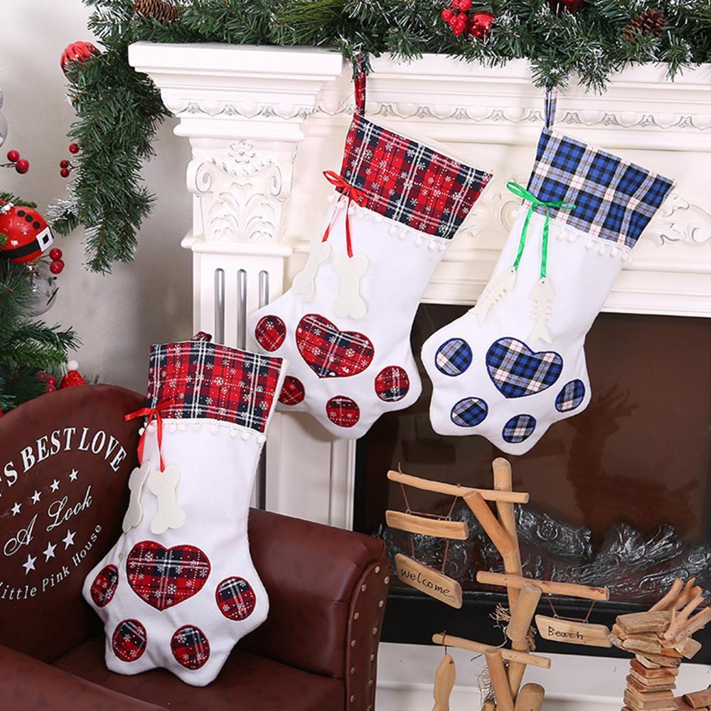 Haustier-Hundeweihnachtsstrumpf Socken Weihnachtsgeschenk Taschen Geschenkpaket Xmas Tree Ornaments Frohes Neues Jahr