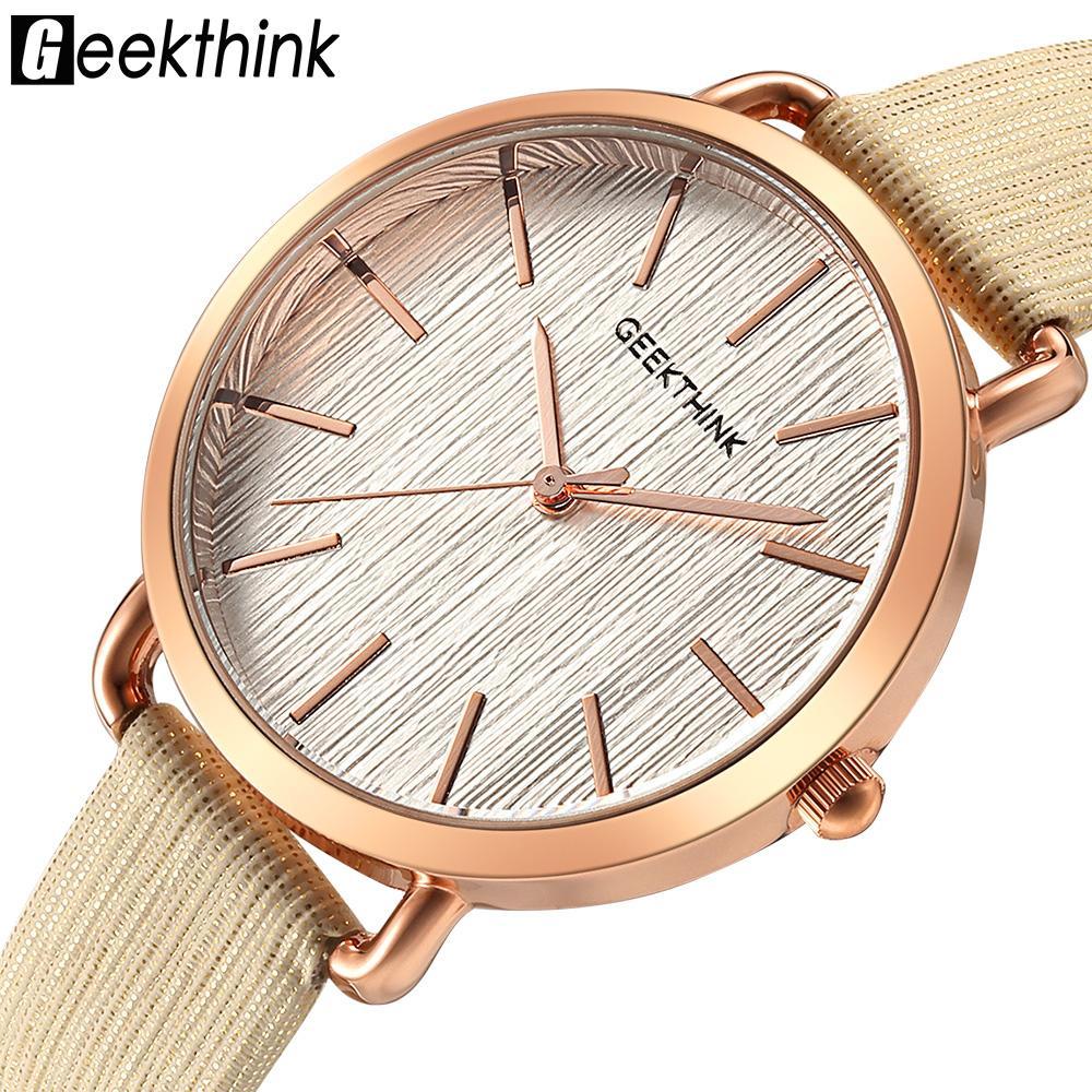 Kadınlar için Geekthink Kadın Saatler Moda Deri Kuvars saatler Minimalism Bayanlar İzle Saat Mujer Bayan Kol Saati Hediye