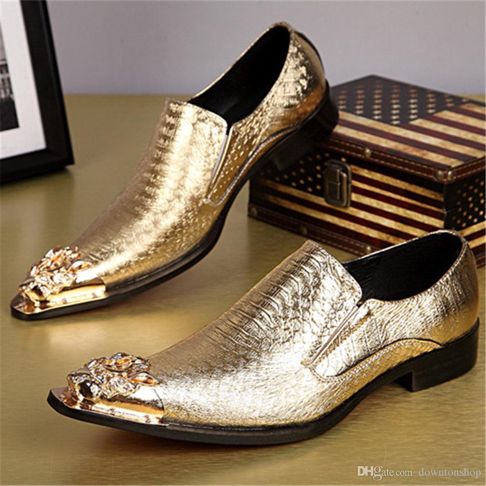 Neue Ankunfts-echtes Leder Snakeskin Bräutigam Schuhe Metallic Kuhfell Best Men Schuhe Oxfords Business Schuhe Italienisch Spitzschuh Größe 37-46