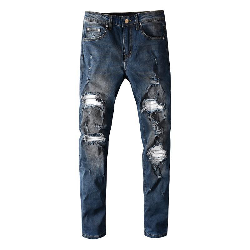 Mens 2.020 roupas de grife de luxo Moda Hip Hop Streetwear Jean Skinny Vintage Destruído Ripped Jeans quebrados Calças Punk Homme 09